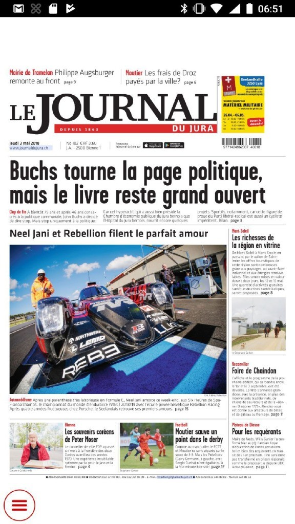 thumbnail of Le Journal du jura du 3 mai 2018