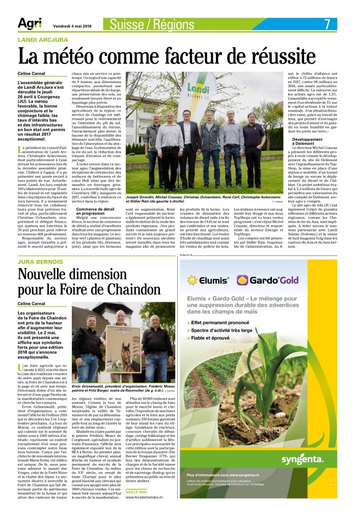 thumbnail of Le journal Agri du 4 mai 2018