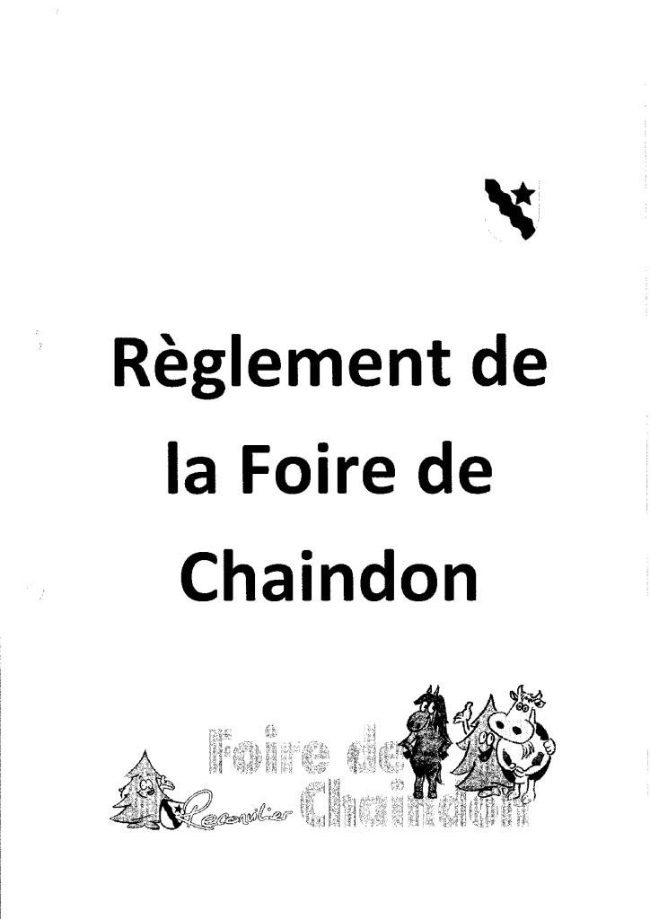 Règlement foire de Chaindon